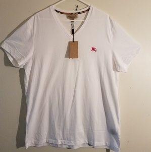 Burberry V-Neck White Tee Shirt